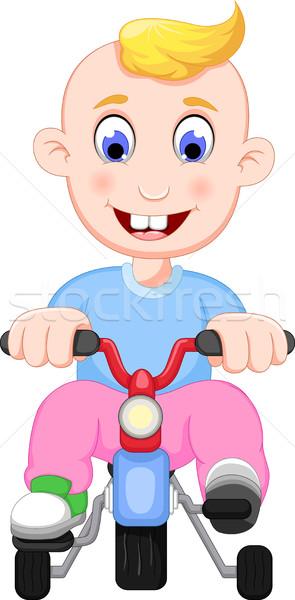смешные ребенка Cartoon играет велосипед счастливым Сток-фото © jawa123