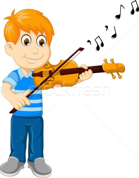 Divertente ragazzo cartoon giocare violino sorriso Foto d'archivio © jawa123