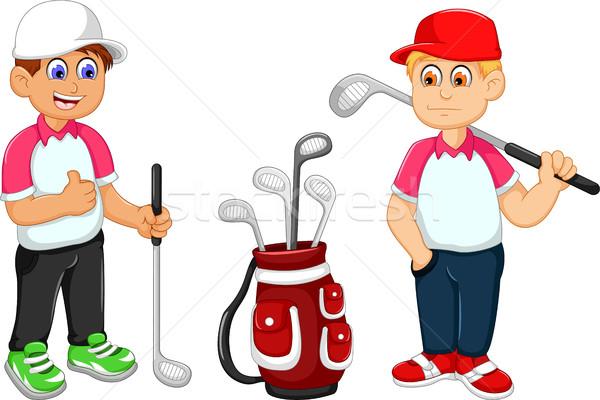 funny two man cartoon playing golf  Stock photo © jawa123