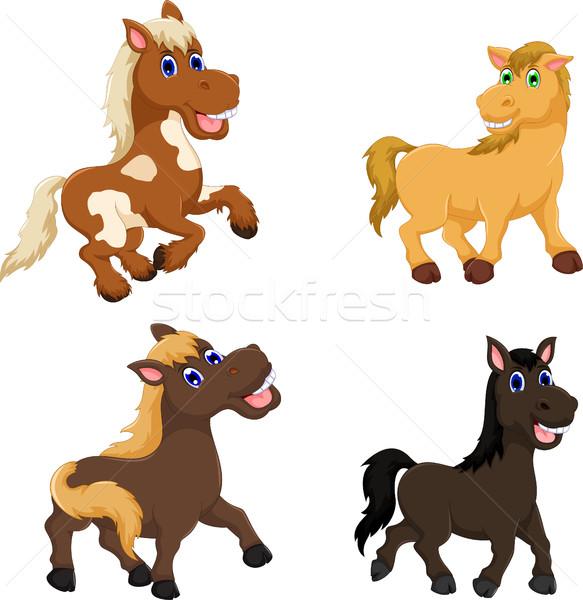 collection of cute horse cartoon Stock photo © jawa123