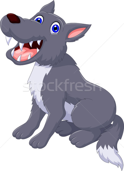 cute wolf cartoon posing Stock photo © jawa123