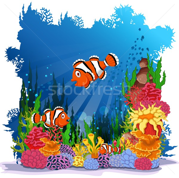 funny clown fish with sea life background Stock photo © jawa123