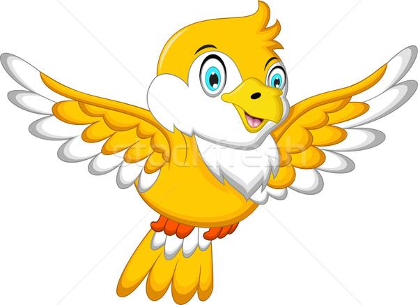 Cute Yellow bird cartoon waving Stock photo © jawa123