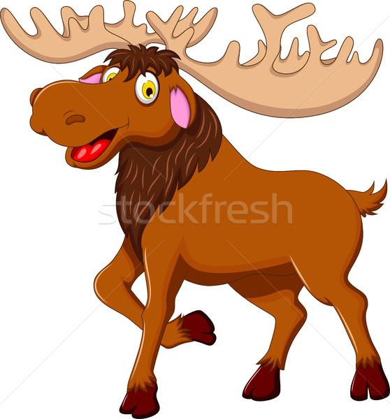 Cute Moose cartoon design legno felice Foto d'archivio © jawa123