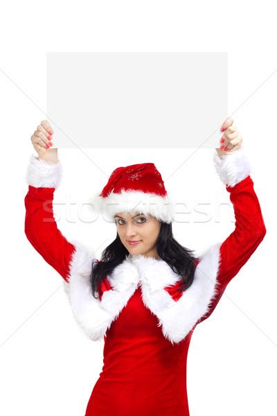 женщину Дед Мороз совета красивая женщина бумаги Сток-фото © jaycriss