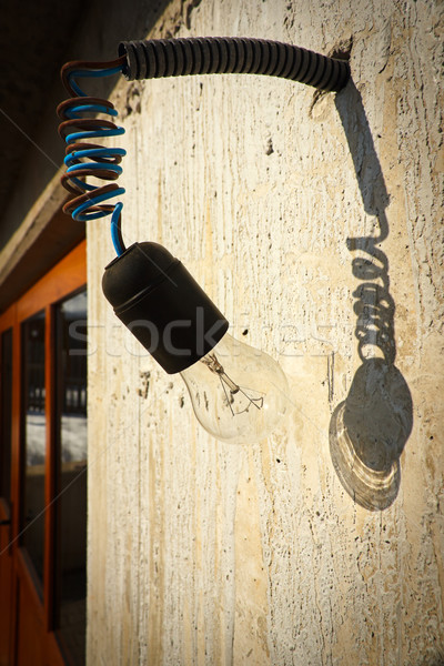 Hanging transparent glass bulb from unfinished construction Stock photo © jaycriss