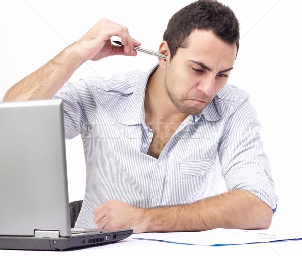 сердиться деловой человек работу ноутбука бизнеса служба Сток-фото © jaycriss