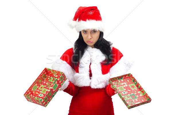 Triste papá noel caja de regalo regalo Foto stock © jaycriss