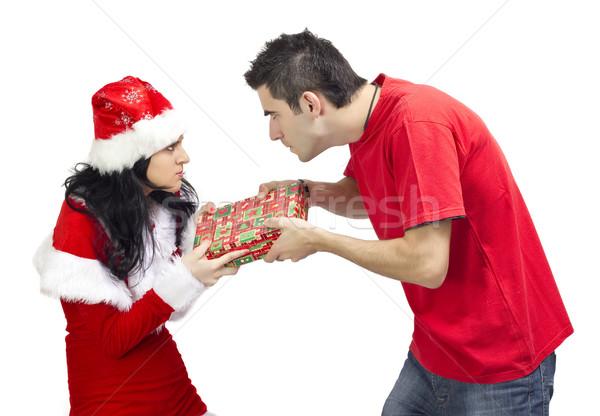 Cadeau colère femme offrant jeunes Photo stock © jaycriss