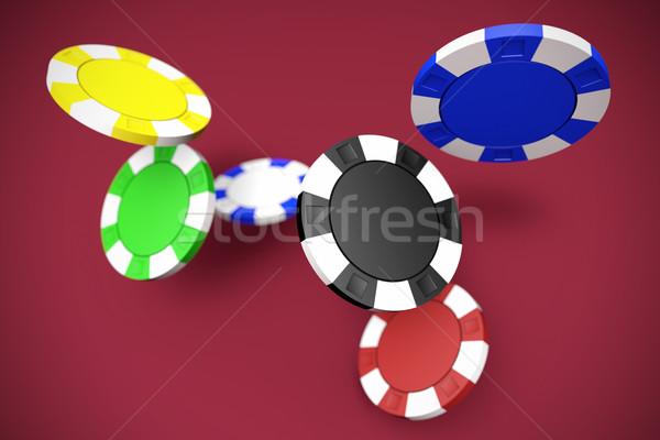падение фишки для покера казино глубокий красный таблице Сток-фото © jaycriss