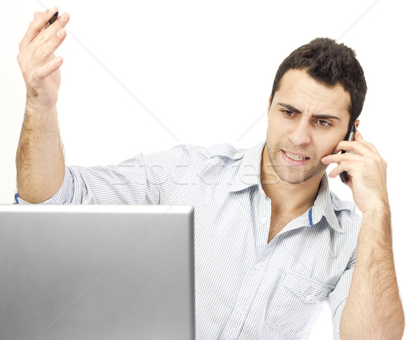 Colère homme d'affaires téléphone affaires bureau homme Photo stock © jaycriss