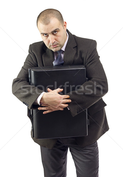 Selfish business man not giving information to others Stock photo © jaycriss
