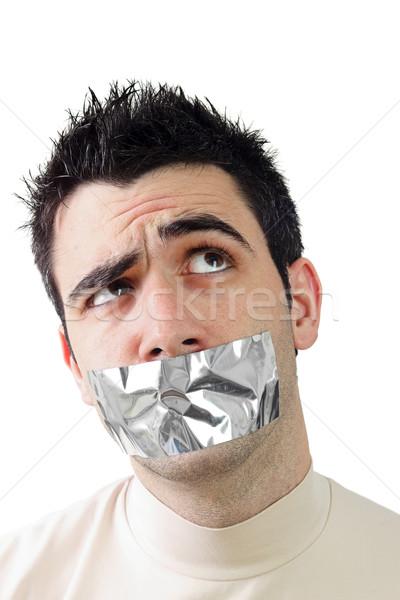 Fiatalember szürke ragasztószalag száj férfiak stressz Stock fotó © jaycriss