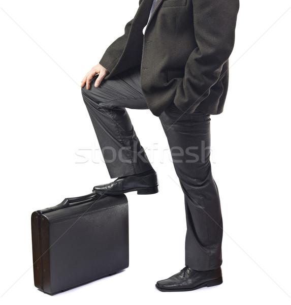 Homme d'affaires attente pied serviette affaires travaux Photo stock © jaycriss