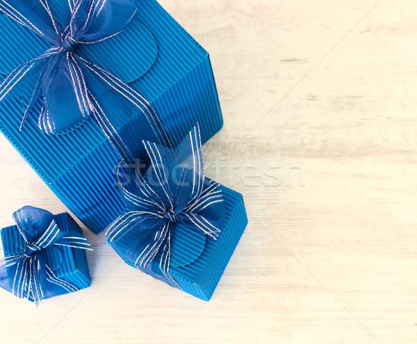 Three blue carton gift boxes Stock photo © jaycriss