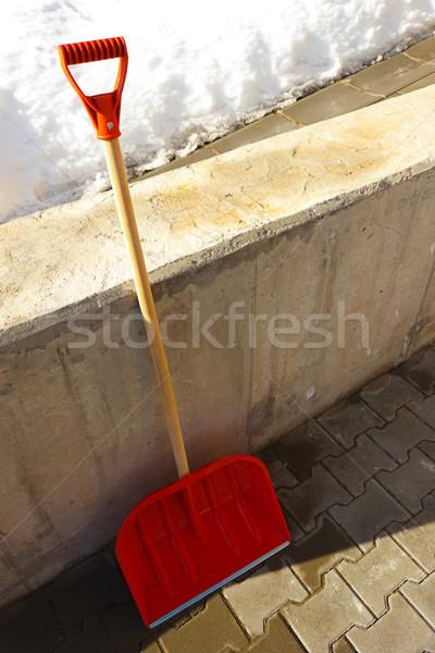 красный лопатой стены зима Сток-фото © jaycriss