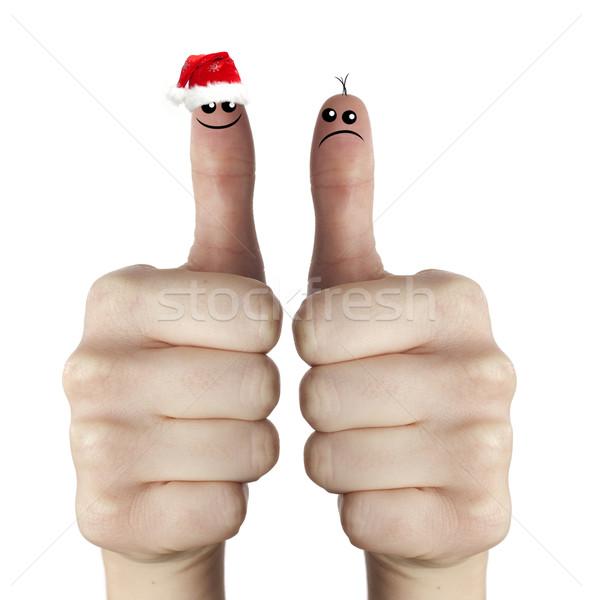 печально счастливым Дед Мороз пальцы два рук Сток-фото © jaycriss