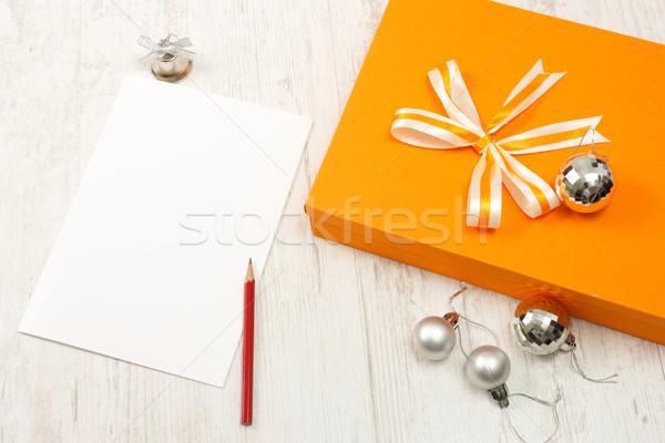Fermé orange coffret cadeau argent Noël carte de vœux Photo stock © jaycriss