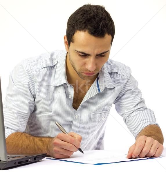 деловой человек подписания договор красивый рубашку работу Сток-фото © jaycriss
