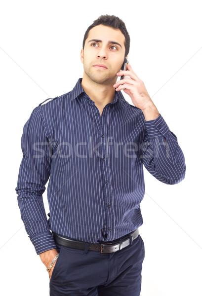 молодые деловой человек говорить телефон бизнеса технологий Сток-фото © jaycriss