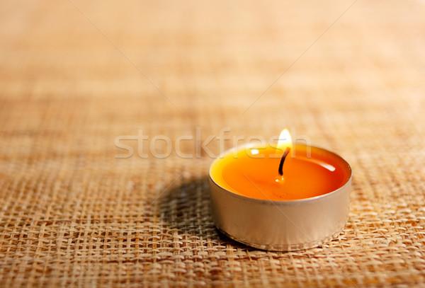 Brennen orange Kerze Material Dekoration Weihnachten Stock foto © jaycriss