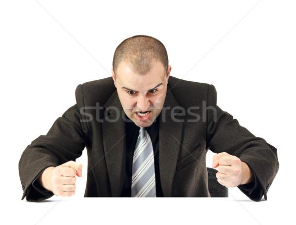 Portrait colère homme d'affaires affaires visage main Photo stock © jaycriss