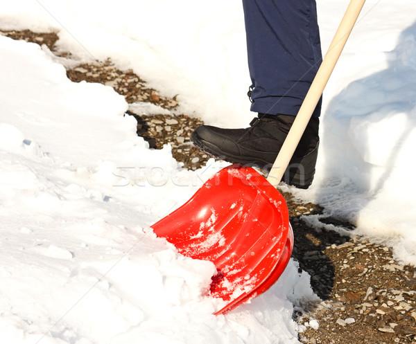 человека снега красный лопатой дороги Сток-фото © jaycriss