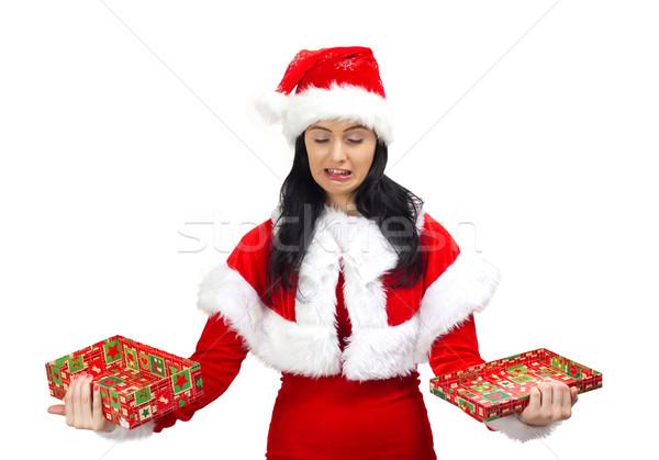 плачу Дед Мороз шкатулке рук женщину Сток-фото © jaycriss