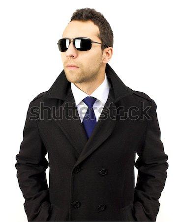 портрет серьезный Постоянный человека Солнцезащитные очки рук Сток-фото © jaycriss