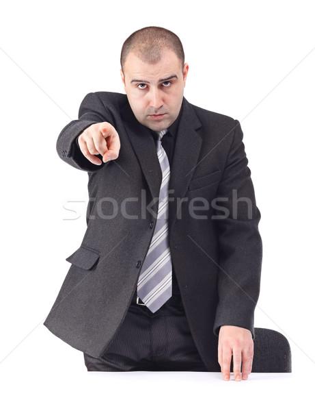Adulte homme d'affaires pointant quelqu'un sérieux travaux Photo stock © jaycriss