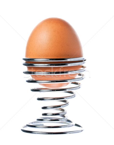 Heerlijk gekookt bruin ei beker Stockfoto © jaykayl