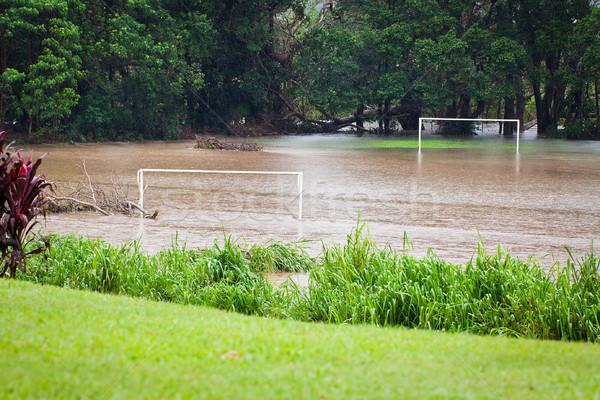 Boisko do piłki nożnej ciężki deszcz queensland Australia piłka nożna Zdjęcia stock © jaykayl