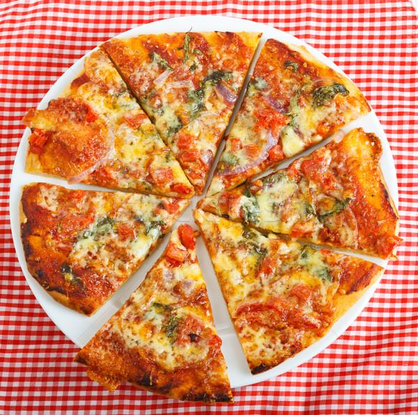 Eigengemaakt pizza plaat heerlijk Rood Stockfoto © jaykayl
