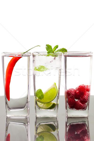 три напитки плодов Ягоды очки таблице Сток-фото © jaykayl
