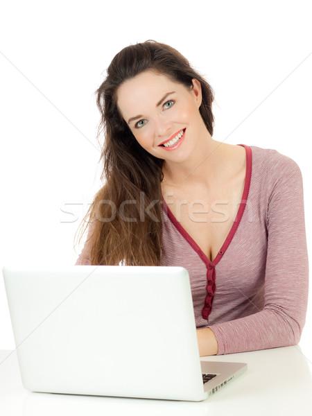 Atrakcyjna kobieta za pomocą laptopa młodych cute kobieta Zdjęcia stock © jaykayl