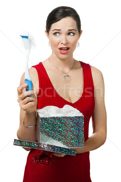 Teleurgesteld vrouw schotel borstel geschenk Stockfoto © jaykayl