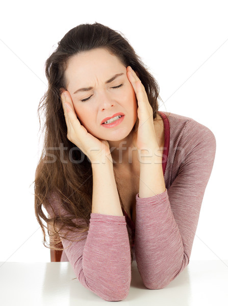 Bela mulher dor de cabeça belo mulher jovem ruim tocante Foto stock © jaykayl