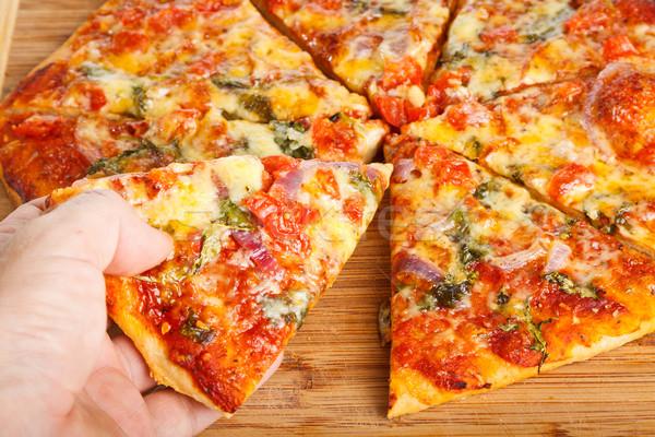 Hand eigengemaakt pizza restaurant Stockfoto © jaykayl