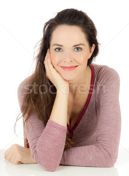 Prachtig jonge vrouw geïsoleerd portret vergadering Stockfoto © jaykayl