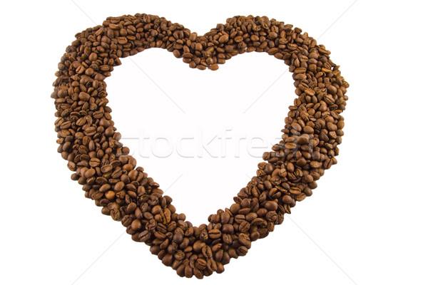 кофейный боб любви сердце кадр кофе белый Сток-фото © jaykayl