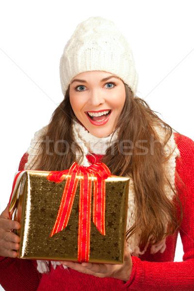美人 クリスマス 現在 美しい 若い女性 ストックフォト © jaykayl