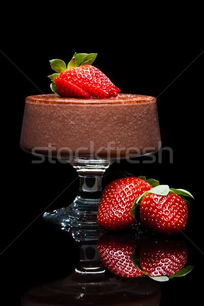 шоколадом десерта клубники Шоколадный мусс красный Сток-фото © jaykayl