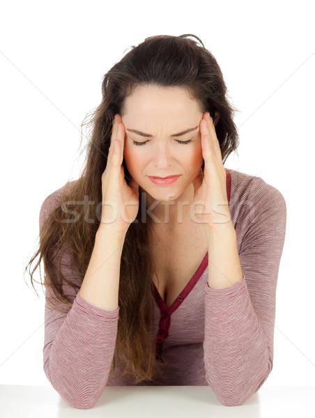 Mooie vrouw lijden hoofdpijn mooie jonge vrouw slechte Stockfoto © jaykayl