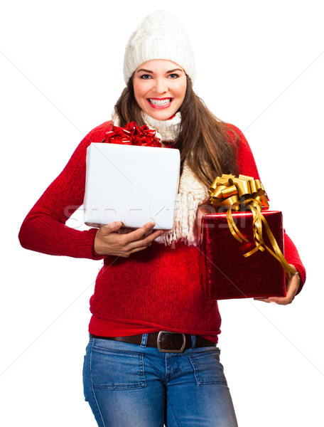 Szczęśliwy piękna kobieta christmas zakupy na zewnątrz Zdjęcia stock © jaykayl