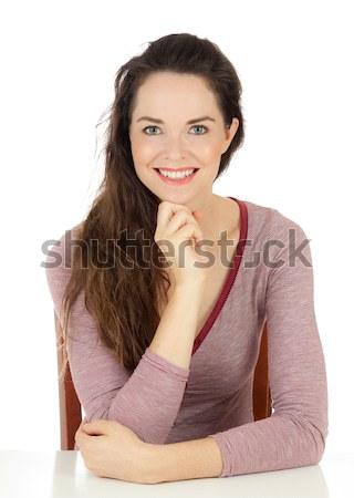 Feliz belo mulher jovem isolado retrato Foto stock © jaykayl