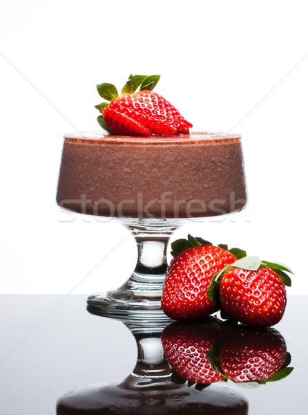 Czekolady deser truskawek mus czekoladowy czerwony Zdjęcia stock © jaykayl