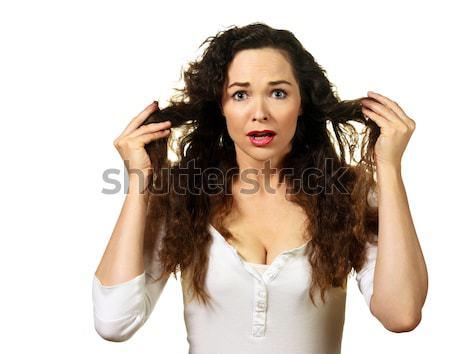 Mooie jonge vrouw slechte haren dag geïsoleerd Stockfoto © jaykayl