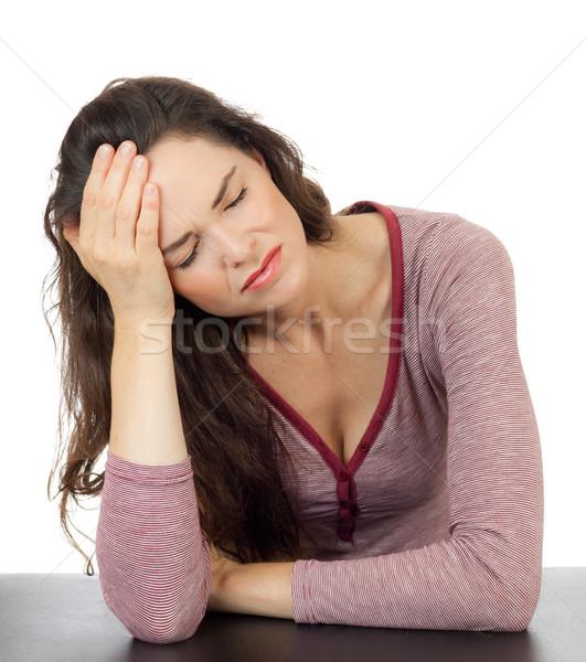Mooie vrouw verschrikkelijk hoofdpijn mooie jonge vrouw slechte Stockfoto © jaykayl