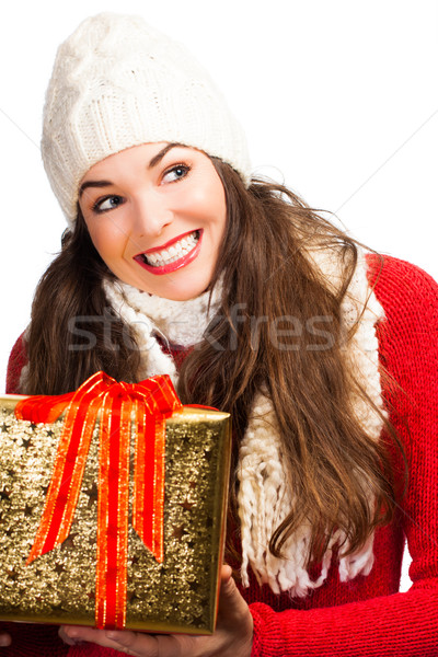 Szczęśliwy kobieta christmas dar piękna Zdjęcia stock © jaykayl