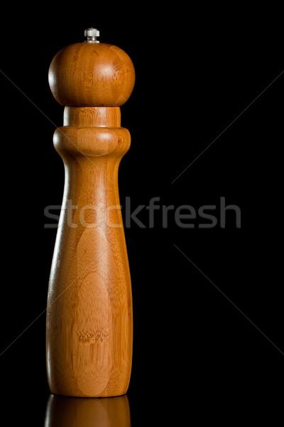 木製 塩 唐辛子 グラインダー 孤立した 黒 ストックフォト © jaykayl